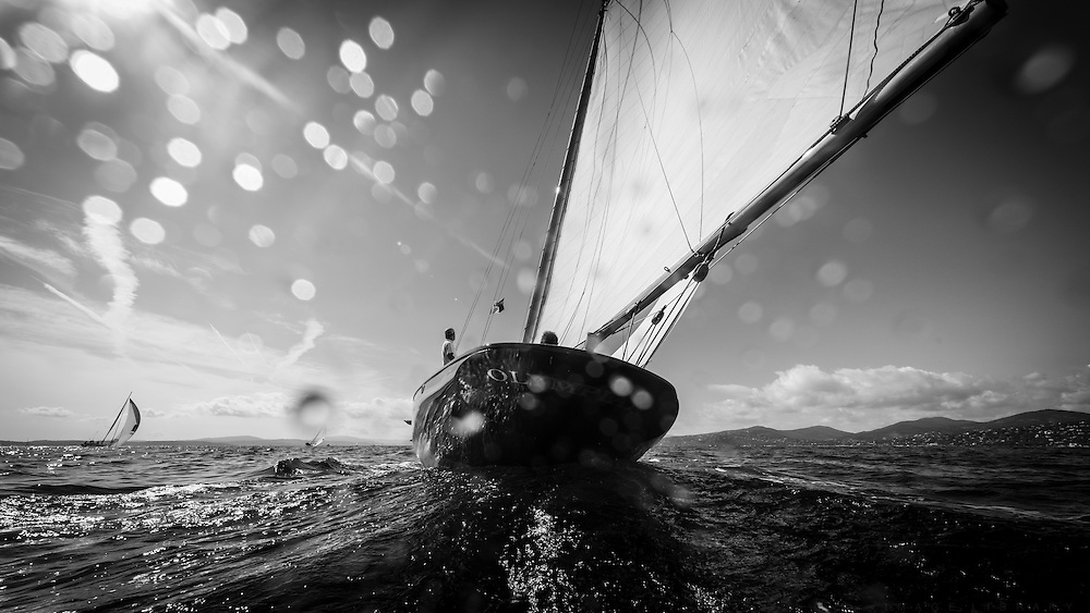 October 2014 Classic Yacht Olympian Sailing in Saint Tropez during the Voiles de Saint Tropez