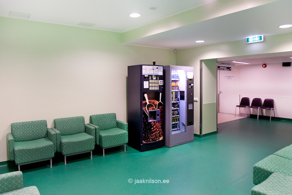 Tartu University Hospital in Estonia, corridors and waiting area. Drinks and food vending machines.