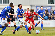 Wrexham AFC Midfielder, Ollie Shenton (23) challenged by Eastleigh Midfielder, Sam Togwell (14) during the Vanarama National League match between Eastleigh and Wrexham FC at Arena Stadium, Eastleigh, United Kingdom on 29 April 2017. Photo by Adam Rivers.