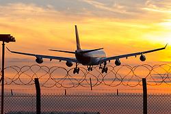 London Heathrow, September 19th 2015. An Air Mauritius Airbus A340 lands at London Heathrow on runway 27R.