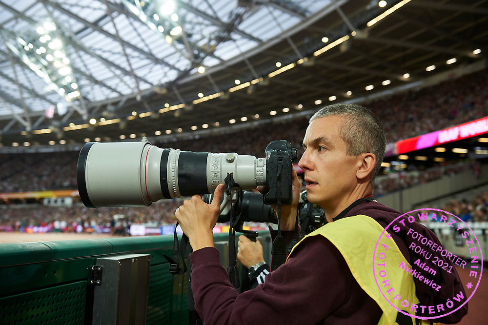 Great Britain, London - 2017 August 07: Photographer Andrzej Banas (Polska Presse Publisher) works during IAAF World Championships London 2017 Day 4 at London Stadium on August 07, 2017 in London, Great Britain.<br /> <br /> Mandatory credit:<br /> Photo by &copy; Adam Nurkiewicz<br /> <br /> Adam Nurkiewicz declares that he has no rights to the image of people at the photographs of his authorship.<br /> <br /> Picture also available in RAW (NEF) or TIFF format on special request.<br /> <br /> Any editorial, commercial or promotional use requires written permission from the author of image.