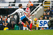 Newcastle United Defender Daryl Janmaat making a very important tackle  during the Barclays Premier League match between Newcastle United and Stoke City at St. James's Park, Newcastle, England on 31 October 2015. Photo by Craig McAllister.