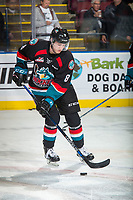 KELOWNA, CANADA - OCTOBER 4:  Jack Cowell #8 of the Kelowna Rockets warms up with the puck against the Victoria Royals on October 4, 2017 at Prospera Place in Kelowna, British Columbia, Canada.  (Photo by Marissa Baecker/Shoot the Breeze)  *** Local Caption ***