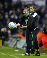 Leeds - Monday October 19th, 2009: Manager Paul Lambert of Norwich City throws the ball during the Coca Cola League One match at Elland Road, Leeds. (Pic by Paul Thomas/Focus Images)..