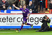 Goal - Martyn Woolford (16) of Grimsby Town celebrates scoring a goal to give a 0-1 lead to the away team during the EFL Sky Bet League 2 match between Exeter City and Grimsby Town FC at St James' Park, Exeter, England on 29 December 2018.