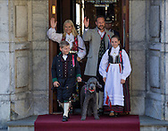 Skaugum, 17-05-2016 <br /> <br /> Crown Prince Haakon and Crown Princess Mette Marit,  Princess Ingrid Alexandra and Prince Sverre Magnus and Marius Borg Hoiby celebrating the  Norwegian National day at their residence at Skaugum.<br /> <br /> Photo: Royalportraits Europe/Bernard Ruebsamen