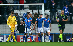 Matt Done of Rochdale celebrates with teammates after scoring a goal to make it 1-0 - Mandatory by-line: Robbie Stephenson/JMP - 21/10/2017 - FOOTBALL - Crown Oil Arena - Rochdale, England - Rochdale v Bristol Rovers - Sky Bet League One