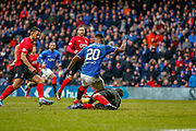 Daniel Bachmann of Kilmarnock comes out for the ball and clashes with Rangers Alfredo Morelos during the Ladbrokes Scottish Premiership match between Rangers and Kilmarnock at Ibrox, Glasgow, Scotland on 16 March 2019.