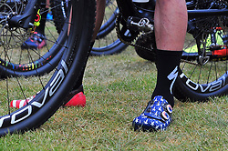 PAARL SOUTH AFRICA - MARCH 23: Yellow Jersey winner Howar Grotts custom stars and stripes shoes representing his nationality on the 70km final day, stage 7 on March 23, 2018 Wellingtion to Paarl, South Africa. Mountain bikers gather from around the world to compete in the 2018 ABSA Cape Epic, racing 8 days and 658km across the Western Cape with an accumulated 13 530m of climbing ascent, often referred to as the 'untamed race' the Cape Epic is said to be the toughest mountain bike event in the world. (Photo by Dino Lloyd)