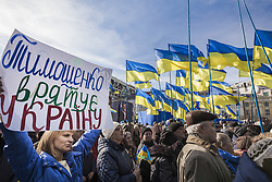 March 29, 2019 - Kiev, Kiev, Ukraine - Supporters of Yulia Tymoshenko hold ucrainian flags and banners with her name during a rally in Kiev, she is the candidate for president of the Batkivshchyna party in the ukrainian elections (Credit Image: © Celestino Arce Lavin/ZUMA Wire)