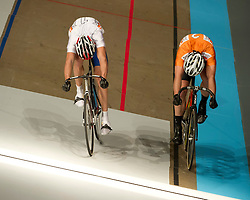 08-01-2012 WIELRENNEN: RABOBANK ZESDAAGSE: ROTTERDAM<br /> (L-R) Mickael Bourgain FRA wint de sprint van Teun Mulder<br /> (c)2012-FotoHoogendoorn.nl / Peter Schalk