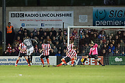 Coventry City Forward Duckens Nazon scores a goal 1-2 during the EFL Sky Bet League 2 match between Lincoln City and Coventry City at Sincil Bank, Lincoln, United Kingdom on 18 November 2017. Photo by Craig Zadoroznyj.