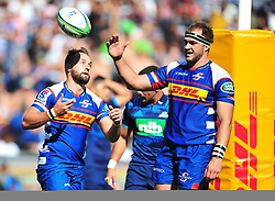 Cape Town-180317 Dewaldt Duwenage of the DHL Stomers celebrate with teamates after scoring a try against Blues in the Super Rugby tournament  at Newlands rugby stadium.Photograph:Phando Jikelo/African News Agency/ANA
