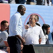 NEW YORK, NEW YORK - May 29:  Patrick Vieira, manager of NYCFC and Adrian Heath, manager of Orlando City, talking on the sideline before the New York City FC Vs Orlando City, MSL regular season football match at Yankee Stadium, The Bronx, May 29, 2016 in New York City. (Photo by Tim Clayton/Corbis via Getty Images)