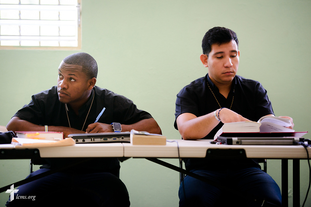 Seminarians study in class at the Concordia Reformer Lutheran Seminary and Mercy Center in Palmar Arriba, Dominican Republic, on Wednesday, Oct. 18, 2017. LCMS Communications/Erik M. Lunsford