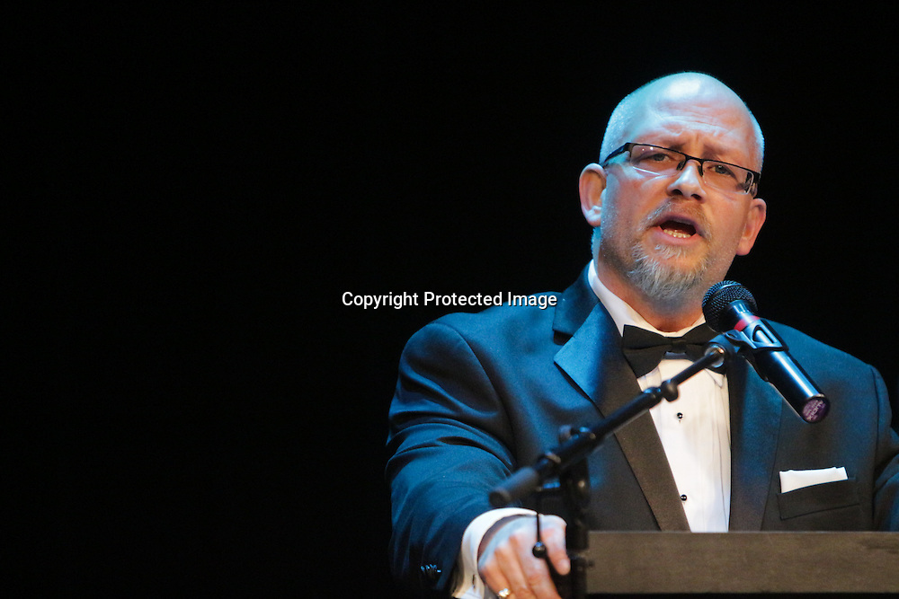 J.R. Rodriguez speaks Sunday March 8, 2015 during A Roast of John Staton, a benefit for Susan Auten at TheatreNOW in Wilmington, N.C. (Jason A. Frizzelle)