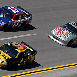 April 17, 2011; Talladega, AL, USA; NASCAR Sprint Cup Series drivers Marcos Ambrose (9), Casey Mears (13) and Brian Vickers (83) during the Aarons 499 at Talladega Superspeedway.   Mandatory Credit: Derick E. Hingle