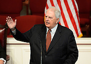 Former Georgia Gov. Roy Barnes makes remarks honoring Georgia Gov. Carl Sanders for his progressive attitude about integration during the turbulent 1960s at a memorial service for Sanders at Second Ponce de Leon Baptist Church on Saturday, Nov. 22, 2014, in Atlanta. Photo by David Tulis
