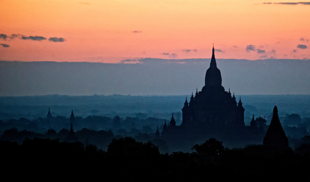 Sunrise over the stupa and temple ruins at Bagan, Myanmar.