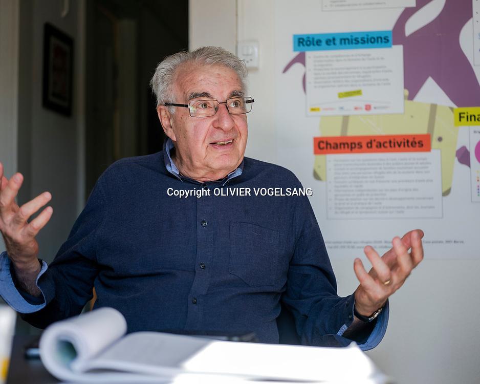 Lausanne, avril 2018. Alain Krivine. Homme politique français d'extrême gauche. Ancien leader de la Ligue Communiste Révolutionnaire. © Olivier Vogelsang