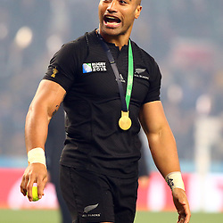 LONDON, ENGLAND - OCTOBER 31: Victor Vito of New Zealand during the Rugby World Cup Final match between New Zealand vs Australia Final, Twickenham, London on October 31, 2015 in London, England. (Photo by Steve Haag)