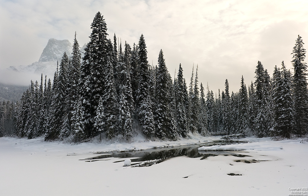 Two image stitched panorama of snow covered Emerald Lake and Mount Burgess.  Yoho National Park.