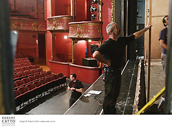 Crew work on building the set for Druid Theatre's production, The Walworth Farce.