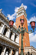 Campanile San Marco (St Mark's Basilica bell tower) and street lamp, Venice, Veneto, Italy