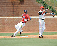 Mississippi's Alex Yarbrough (2) hits a triple vs. St. John's during an NCAA Regional game at Davenport Field in Charlottesville, Va. on Sunday, June 6, 2010.
