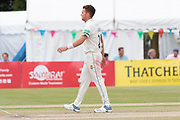 Ryan Higgins bowling during the Specsavers County Champ Div 2 match between Gloucestershire County Cricket Club and Leicestershire County Cricket Club at the Cheltenham College Ground, Cheltenham, United Kingdom on 18 July 2019.