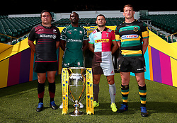Danny Care of Harlequins, Topsy Ojo of London Irish, Dylan Hartley of Northampton Saints, Jamie George of Saracens launch The 2017/18 Aviva Premiership Rugby season ahead of the Double Header Weekend at Twickenham - Mandatory by-line: Robbie Stephenson/JMP - 24/08/2017 - RUGBY - Twickenham - London, England - Premiership Rugby Launch