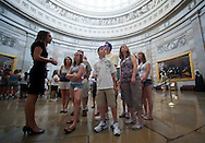 Grassley intern Stephanie Groen (from left) of West Des Moines talks about the Capitol Rotunda as Anna Ruegsegger, 13, of Altoona, Johnny Seitz, 11, of Marion, and Gail Seitz, of Marion, listen on a tour of the Capitol from the office of Senator Chuck Grassley in the United States Capitol building in Washington, D.C. on Monday, June 27, 2011.