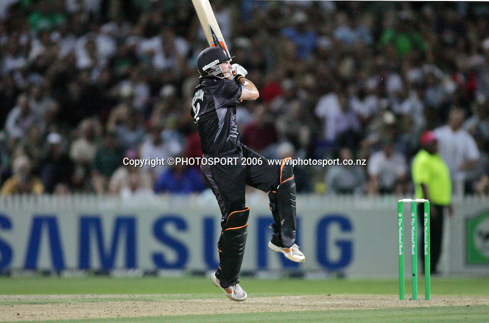 New Zealand batsman Brendon McCullum watches as the ball races to the boundary during the 3rd Chappell Hadlee one day match at Seddon Park, Hamilton, New Zealand on Tuesday 20 February 2007. Photo: Andrew Cornaga/PHOTOSPORT<br /><br /><br />200207