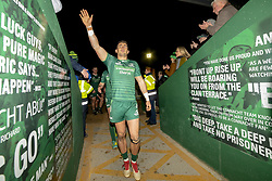 November 3, 2018 - Galway, Ireland - Tiernan O'Halloran of Connacht thanks his fans during the Guinness PRO14 match between Connacht Rugby and Dragons at the Sportsground in Galway, Ireland on November 3, 2018  (Credit Image: © Andrew Surma/NurPhoto via ZUMA Press)