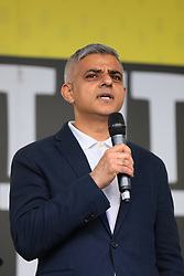 "© Licensed to London News Pictures. 23/03/2019. London, UK. Mayor of London Sadiq Khan speaks at the People's Vote rally in Parliament Square after an estimated one million people marched through central London to demand that government allow a ""People's Vote"" on the Brexit deal. Several key votes will be held in Parliament in the coming week. Photo credit: Rob Pinney/LNP"