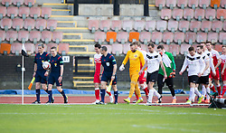 team enter the field. <br /> half time : Edinburgh City 0 v 0 Brora Rangers, 1st leg, Pyramid Playoffs at Meadowbank, 25/4/2015.