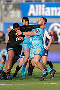 Saracens hooker Christopher Tolofua (2) battles with Worcester Warriors tighthead prop Simon Kerrod (3) during the Premiership Rugby Cup match between Saracens and Worcester Warriors at Allianz Park, Hendon, United Kingdom on 11 November 2018.