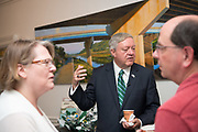 President Nellis greets faculty and staff during a welcome reception at Cutler Hall on President's Nellis first day in office.