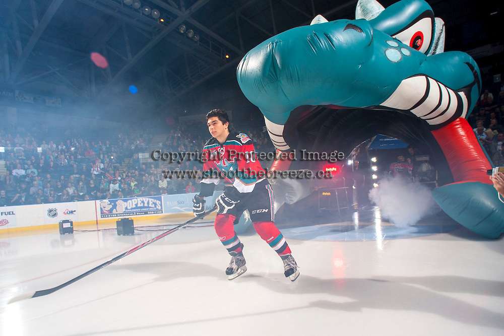 KELOWNA, CANADA - SEPTEMBER 21:  Nick Merkley #10 of the Kelowna Rockets enters the ice during the regular season home opener against the Kamloops Blazers at the Kelowna Rockets on September 21, 2013 at Prospera Place in Kelowna, British Columbia, Canada (Photo by Marissa Baecker/Shoot the Breeze) *** Local Caption ***