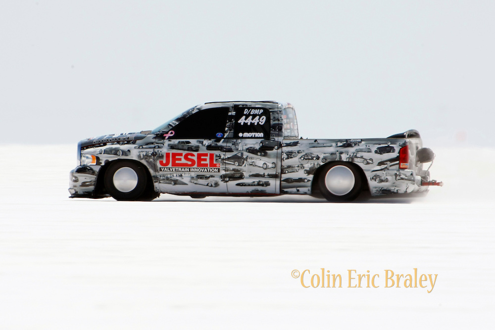 The best-cars-people-atmosphere-photos of 2009 Bonneville Speed Week- The Jesel Land Speed Team's 2005 Blown Modified, Dodge Ram Pickup, driven by Wayne Jesel of Mooresville, North Carolina, makes a run at the Bonneville Speed Way. August 9, 2009.  Photo by Colin E. Braley