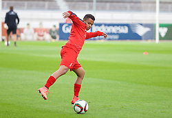 HELSINKI, FINLAND - Friday, July 31, 2015: Liverpool's Allan Rodrigues de Sousa warms-up before a friendly match against HJK Helsinki at the Olympic Stadium. (Pic by David Rawcliffe/Propaganda)