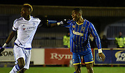 Paul Kalambayi holds onto Tammy Abraham during the FA Youth Cup match between U18 AFC Wimbledon and U18 Chelsea at the Cherry Red Records Stadium, Kingston, England on 9 February 2016. Photo by Michael Hulf.