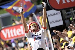 July 15, 2018 - Amiens Metropole, FRANCE - German John Degenkolb of Trek-Segafredo celebrates as he crosses the finish line to win the eighth stage of the 105th edition of the Tour de France cycling race, from Arras Citadelle to Roubaix (156,5 km), in France, Sunday 15 July 2018. This year's Tour de France takes place from July 7th to July 29th. BELGA PHOTO YORICK JANSENS (Credit Image: © Yorick Jansens/Belga via ZUMA Press)