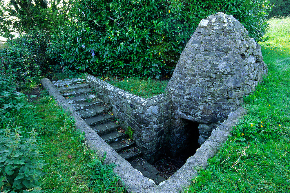 St. Brigid's Well with clootie tree behind in the ancient Celtic Christian church site on Faughart Hill, County Louth, Ireland.