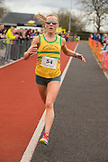 Bohermeen AC 10km & Half Marathon Road Races, 12th March 2016<br /> First Lady - Ciara Hickey (Bros Pearse AC) crosses the finish line<br /> Photo: David Mullen /www.cyberimages.net / 2016