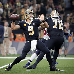 Sep 9, 2019; New Orleans, LA, USA; New Orleans Saints quarterback Drew Brees (9) throws against the Houston Texans during the second quarter at the Mercedes-Benz Superdome. Mandatory Credit: Derick E. Hingle-USA TODAY Sports