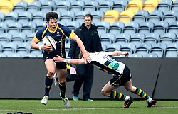 Will Butler of Worcester Warriors U18 runs past Finn Creighton of Northampton Saints U18 - Mandatory by-line: Robbie Stephenson/JMP - 22/01/2017 - RUGBY - Sixways Stadium - Worcester, England - Worcester Warriors U18 v Northampton Saints U18 - Premiership Rugby U18 Academy League