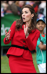 The Duchess of Cambridge reacts to a shot by her husband the Duke of Cambridge during a cricket match  with schoolchildren in Christchurch, New Zealand,  Monday, 14th April 2014. Picture by Stephen Lock  / i-Images