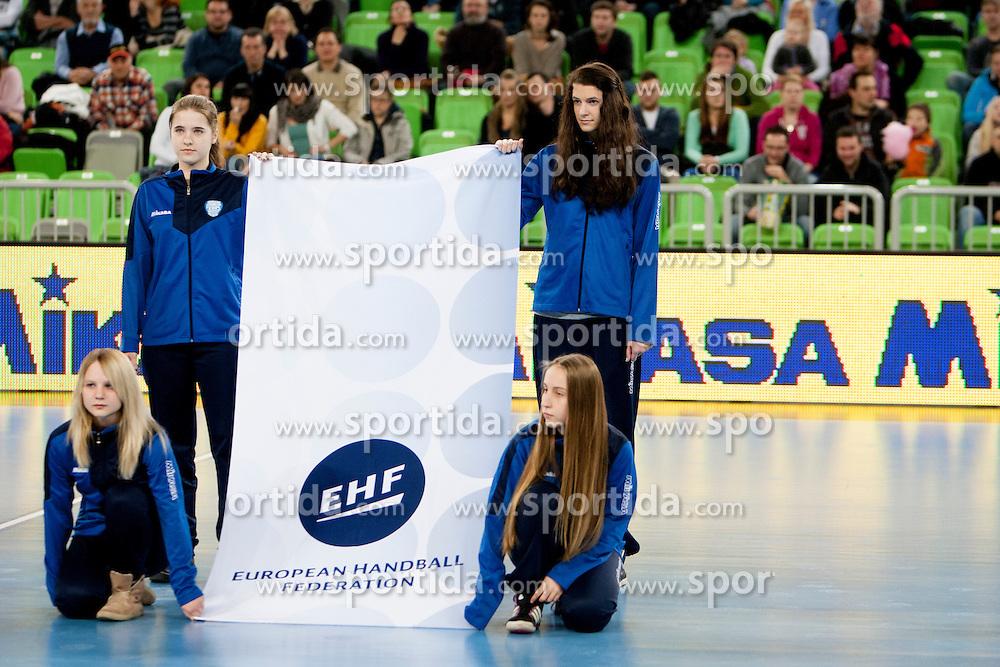 Before handball match between RK Krim Mercator (SLO) and Oltchim Rm. Valcea (ROM) in 2th Round of EHF Women's Champions League 2012/13 on Februar 10, 2013 in Arena Stozice, Ljubljana, Slovenia. (Photo By Urban Urbanc / Sportida)