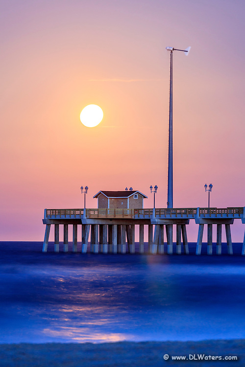 Moon rising over  Jeanette's Pier just after sunset.